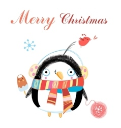 New year greeting card with penguin vector image vector image