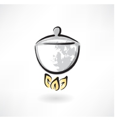 pot on fire grunge icon vector image vector image