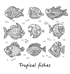 set of ink tropical fishes vector image