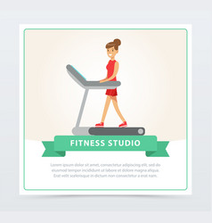 young woman walking on thread mill fitness studio vector image