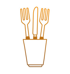 glass with cutlery icon vector image