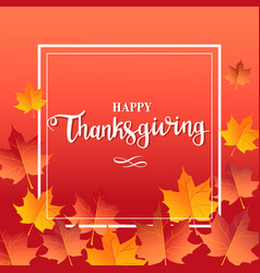 happy thanksgiving day red background with maple vector image vector image