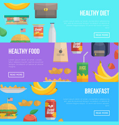 healthy food and breakfast banners vector image