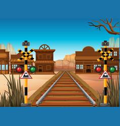 Railroad scene in the western town vector