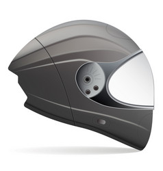 black motorcycle helmet side view isolated on a vector image