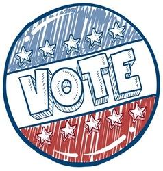 doodle vote button vector image