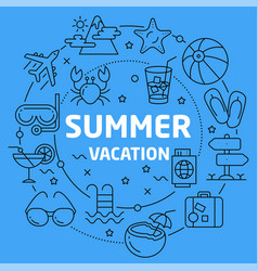 linear summer vacation vector image vector image