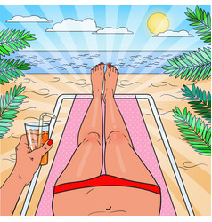 pop art woman relaxing on the beach vector image vector image