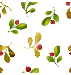 seamless pattern with watercolor green leaves and vector image vector image