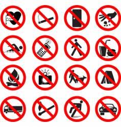 Set of forbidden signs vector