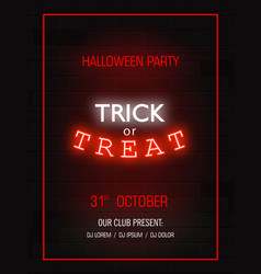 trick or treat light banner modern neon billboard vector image