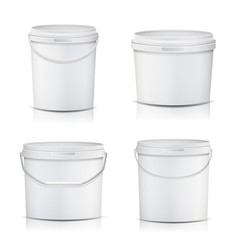 3d bucket set realistic mock up plastic vector