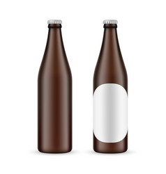 500ml amber beer bottle with label and blank vector
