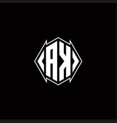 Ak logo monogram with shield shape designs vector