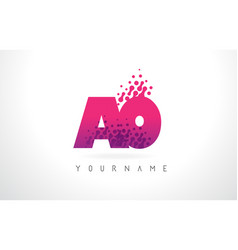 Ao a o letter logo with pink purple color vector