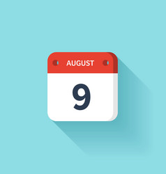 August 9 Isometric Calendar Icon With Shadow vector