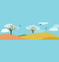 autumn landscape panorama with deciduous tree vector image