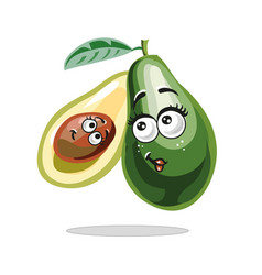 avocado with cute face mother and child fruit vector image