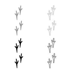 Bird footprint icon grey and black color vector