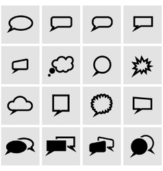 black speach bubbles icon set vector image