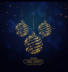 blue christmas holiday background with hanging vector image