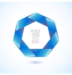 Blue heptagon shape on white background vector image