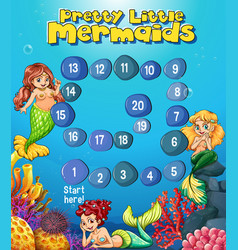 boardgame template with mermaids under the sea vector image