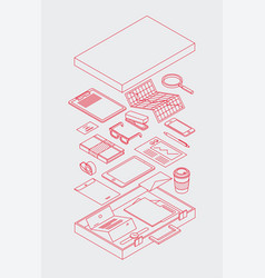 Briefcase isometric outline vector