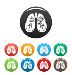 bronchitis lungs icons set color vector image