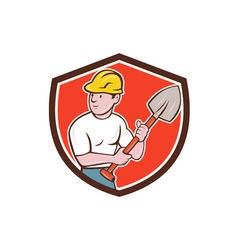 Builder Construction Worker Spade Shield Cartoon vector image