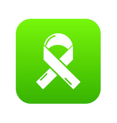 cancer ribbon icon green vector image