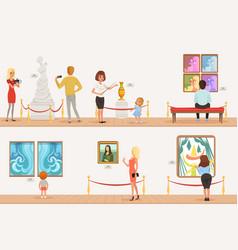 Cartoon characters people visitors in art museum vector