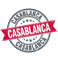 Casablanca red round grunge vintage ribbon stamp vector