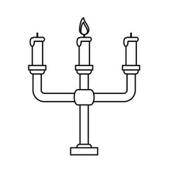 Chandelier with one lit candle icon image vector