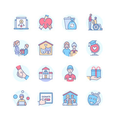 Charity - modern line design style icons set vector