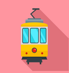 City tramcar icon flat style vector