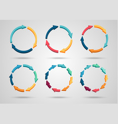 colorful 3d circle arrows set vector image