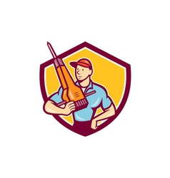 Construction Worker Jackhammer Shield Cartoon vector image