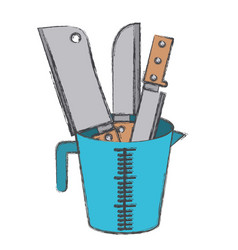 Container with knifes colorful blurred contour vector