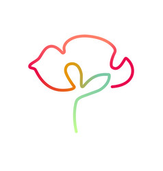 Continuous bright colored line art of poppy flower vector