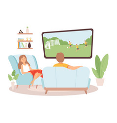 couple spend time together woman man watch tv vector image