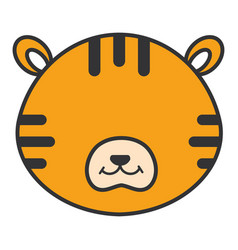 cute and tender tiger head character vector image