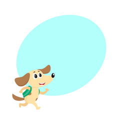 cute dog puppy student character with backpack vector image