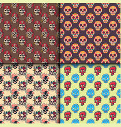 different style skulls faces seamless pattern vector image