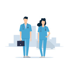 emergency medical service doctors man and woman vector image