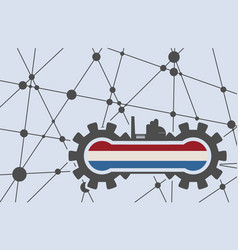 flag of the netherlands build in gear vector image