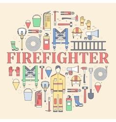 Flat firefighter uniform and first help equipment vector image