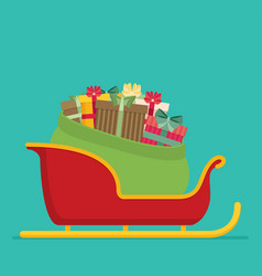 Full bag of gifts from santa claus is in the sled vector