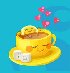 funny food characters cup tea lemon and sugar vector image