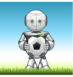funny kid robot with soccer ball in his hend vector image